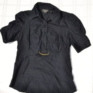 guess STRETCH black blouse with gold chain SIZE L